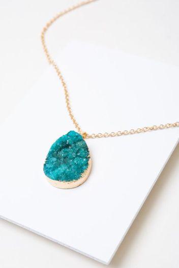 Aqua Geode Accent Necklace